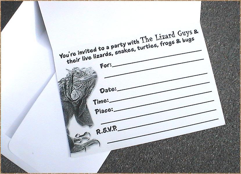 The Lizard Guys - custom birthday party invitations favors reptile ...